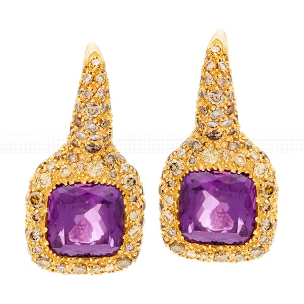 18k yellow gold earrings with diamonds and center amethyst