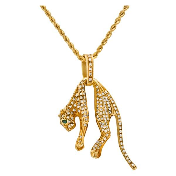 Diamond panther pendant