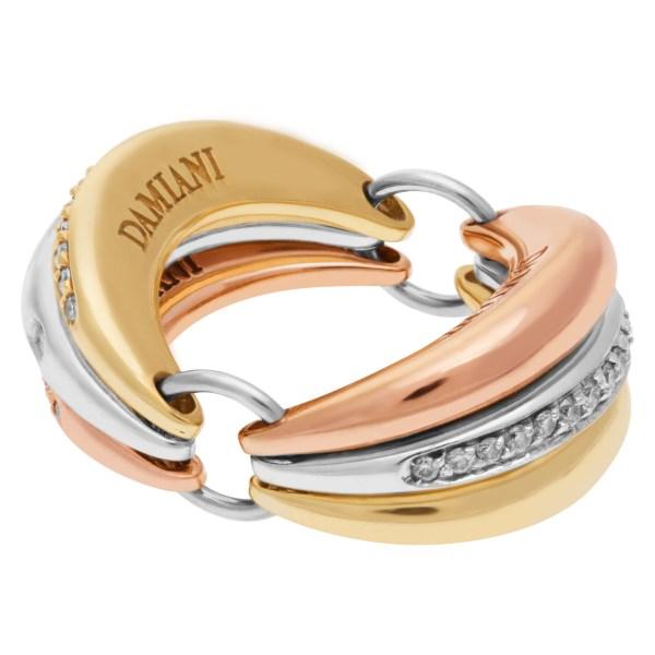 Damiani 'Gaia' Tri-Colored Gold with pave diamonds in 18k. Size 5