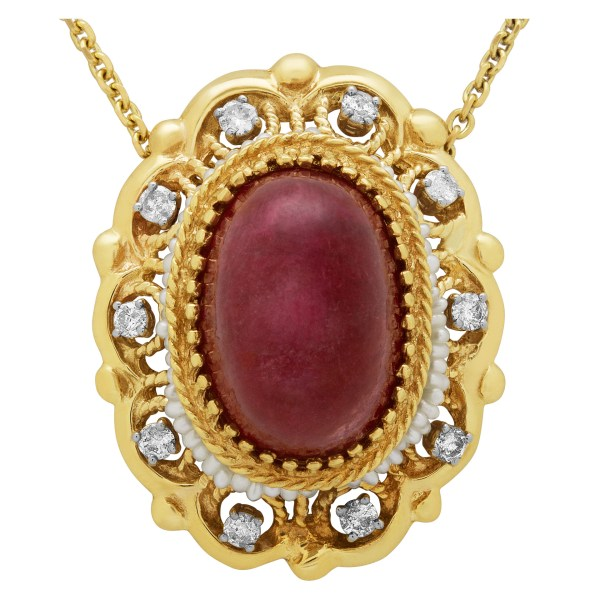 Ruby, Diamond & Pearl pendant in 14k yellow gold on14k chain