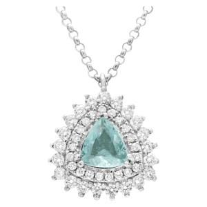 Sparkling tourmaline pendant necklace with diamonds