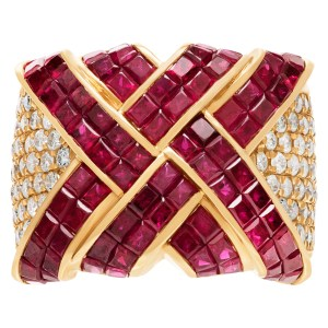 Stunning ruby and diamong wide ring
