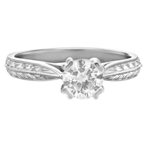 GIA cert. round brilliant cut diamond 0.74cts (D color, SI1 clarity) engagment ring set in Scot Kay platinum. Size 6.75