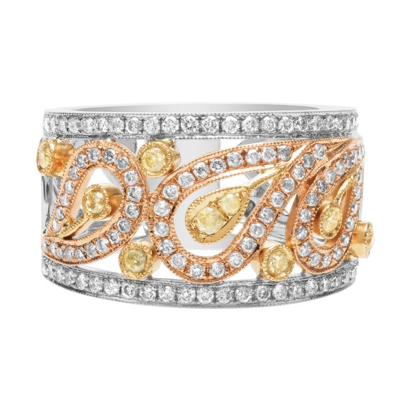 Diamond band with white and yellow diamonds in 18k yellow, white and pink gold