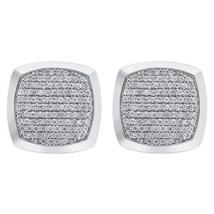 Diamond cufflinks in 18k white gold. 1.48 carats in clean white diamonds