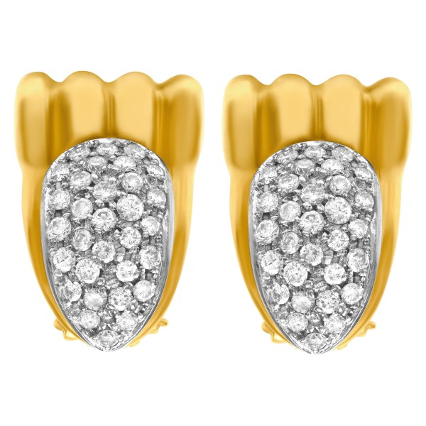 Diamond earrings with appr. 2 cts in diamonds in 18k yellow gold