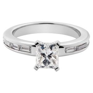 GIA certified cut-cornered rectangular modified brilliant cut diamond ring