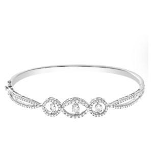 "Diamond Eternity Band and Ring ""Dancing Diamonds"" bangle in 18k white gold with three circular diamonds"