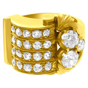 Old European cut diamond ring in 18k yellow gold. 2.00cts (H color, SI2 clarity)