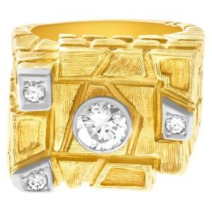 GIA certified round brilliant cut 1.03 (J color VS2 clarity) diamond bricks and blocks ring. Size 10