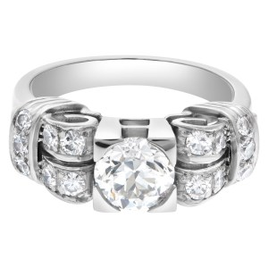 GIA certified round briiliant diamond 1.13 carats (J color, VS2 clarity) ring set in platinum. Size 7