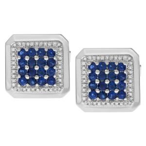 Elegant blue sapphire and diamond cufflinks in 18k white gold