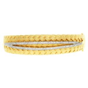 Diamond Weave design bangle in 14k yellow gold. 1.00 carat in diamonds