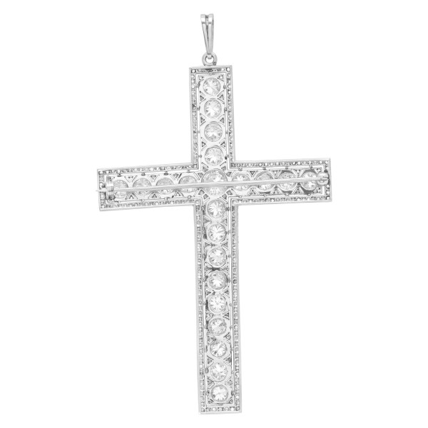 Timeless diamond cross pendant in platinum with total diamond weight 5.5 carats