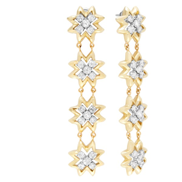 Dancing flower diamond drop earrings in 18k yellow gold 7.20 carats