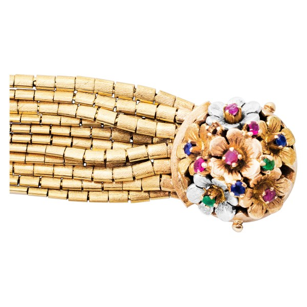 Floral Multistrand bracelet in 18k yellow gold with flower clasp