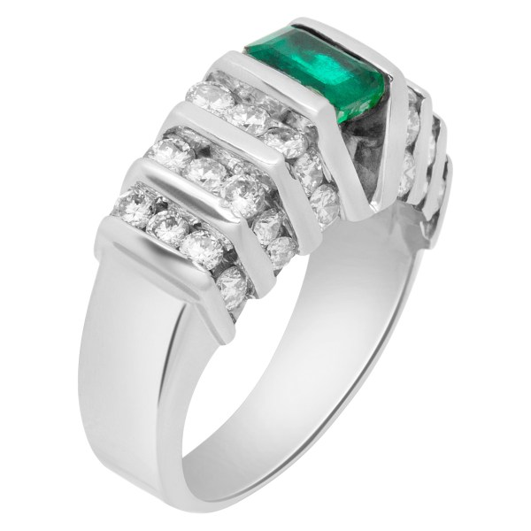Emerald and diamond ring in 14k white gold w/ approx. 0.75 ct emerald and 1.14 cts in diamonds.