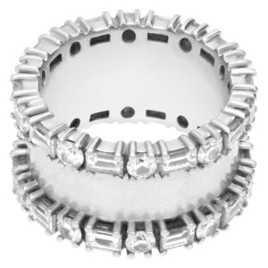 Baguette And Round Diamond Eternity Ring In 18k White Gold. (1.00 Ct In Diamonds)