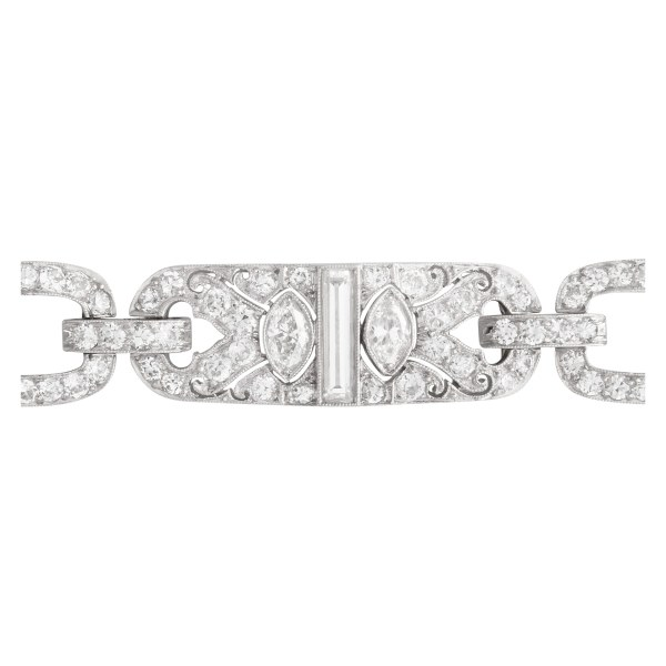 Bertram H. Satz Art Deco platinum diamond bracelet. Approx. 8.0 carats in diamonds