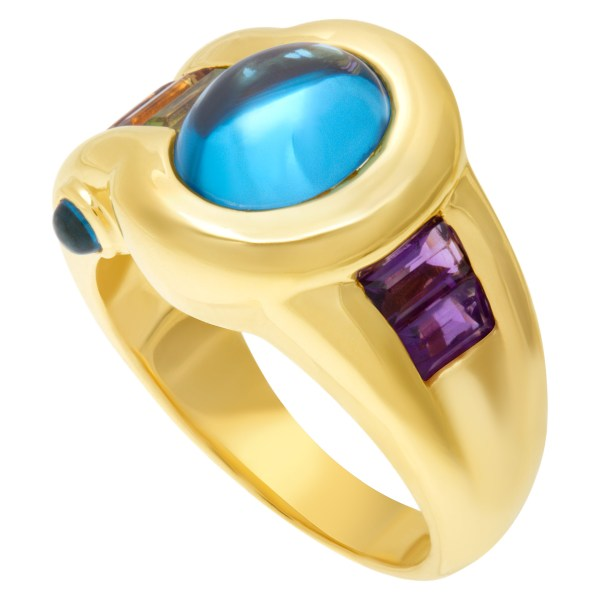 Blue Topaz cabochon ring in 18k yellow gold with amethyst & semi-precious stones