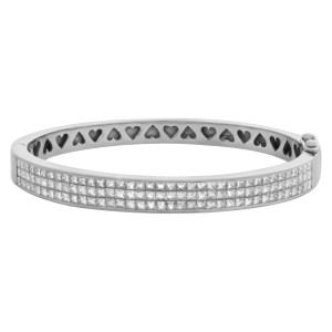 Princess cut diamond bangle 18k white gold apprx. 3 carats