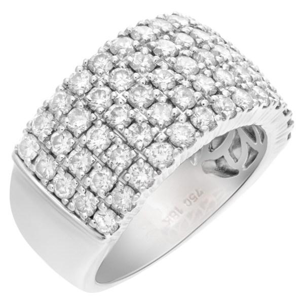 Five rowsdiamond ring in 18k white gold