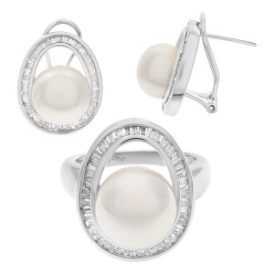 Ring and earring pearl set