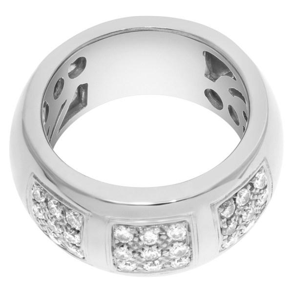 Triple square pave diamond wedding band in 18k white gold. 1.5 ct in diamonds