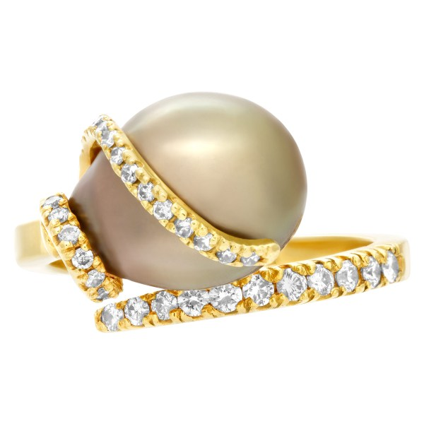 South Sea pearl ring with diamond accents in 18k gold