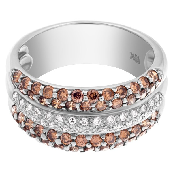 Chocolate brown and white diamond band in 18k white gold