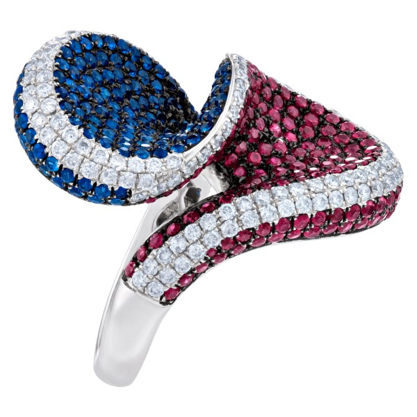 Beautiful twisted diamond, sapphire and ruby ring set in 18k white gold