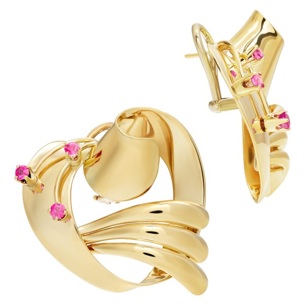 Gorgeous earrings with ruby accents in 14k yellow gold