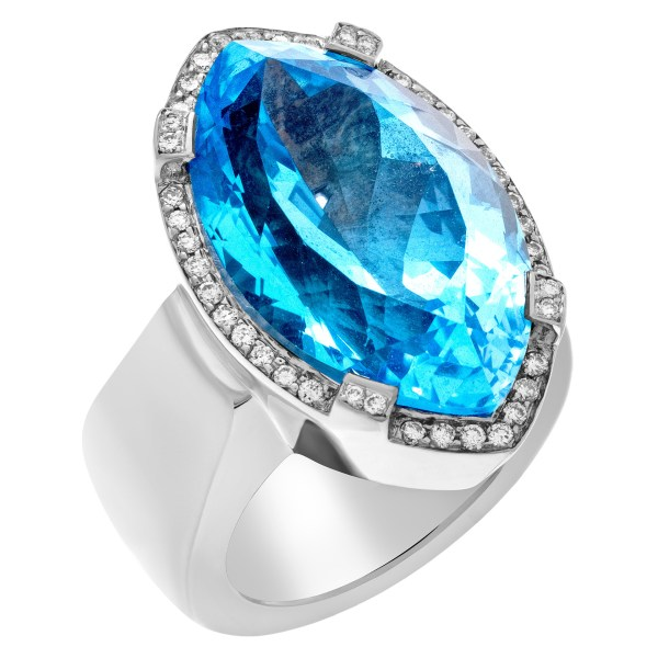 Royal Blue Topaz Marquise-Cut shape ring in 18k white gold