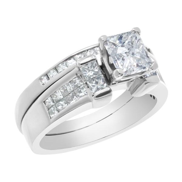 GIA certified rectangular modified brilliant 1.01 carat diamond (F color, I3 clarity) ring