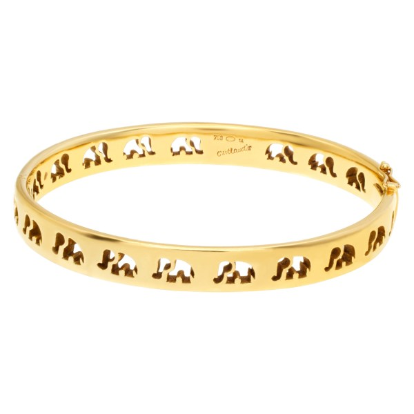 """Signed """"C'est Laudies"""" Elephant Bangle with diamond accents in 18K Yellow gold ."""