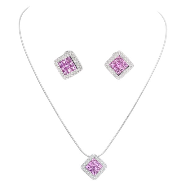 Pink sapphire and diamond necklace and earrings set in 18k white gold