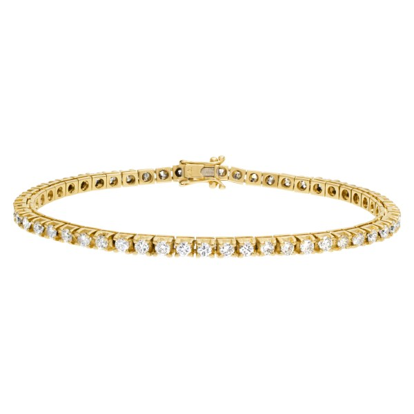 14k gold diamond line bracelet with over 3cts in round diamonds