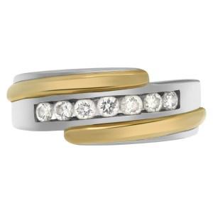 """Lucky Seven""  diamonds weding band. Seven full cut round  brilliant diamonds set in 14K white & yellow gold."