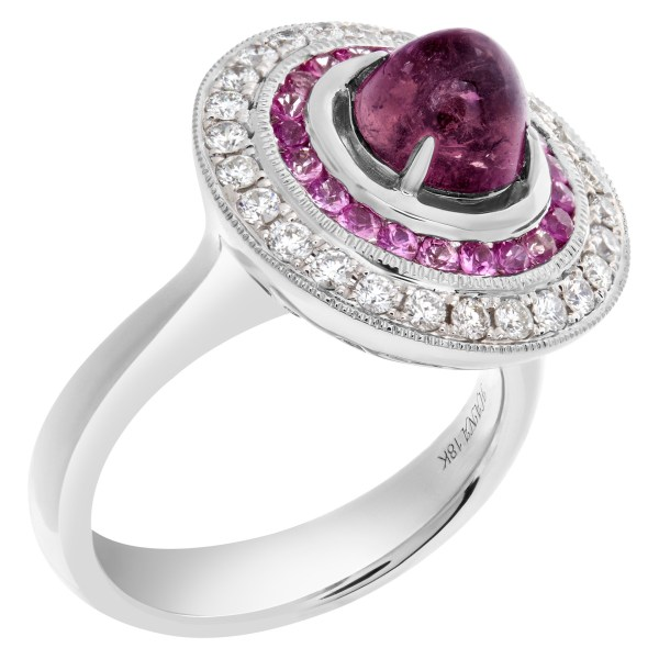 Diamond and pink sapphire ring in 18k white gold
