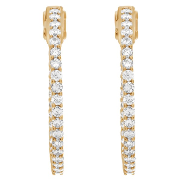 """Gorgeous """"Inside/out"""" hoop earrings with 1.66 carats in diamonds in 14k gold"""