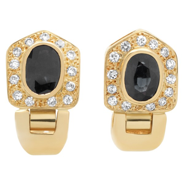 Sapphire and diamond earrings in 14k yellow gold
