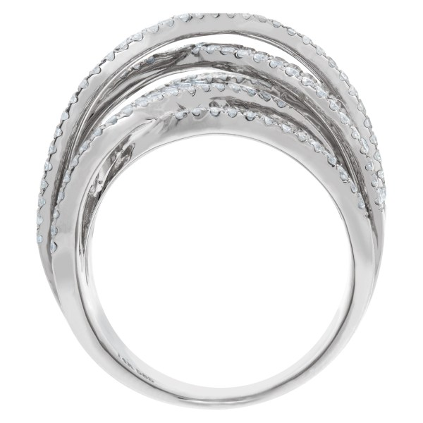 Crossover diamond ring (5.0 carats) in 14k white gold