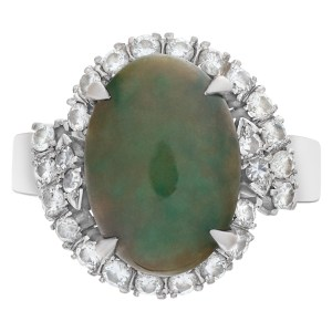 Jade and diamond ring in 14k white gold with approximately .5 cts in diamonds
