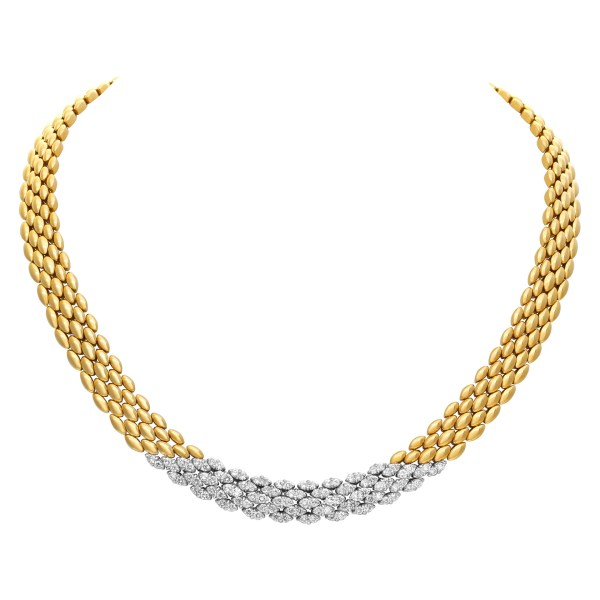 Slinky panther style necklace in 18k with approximately 2.0 carats in full cut diamonds 16'' (10mm wide)
