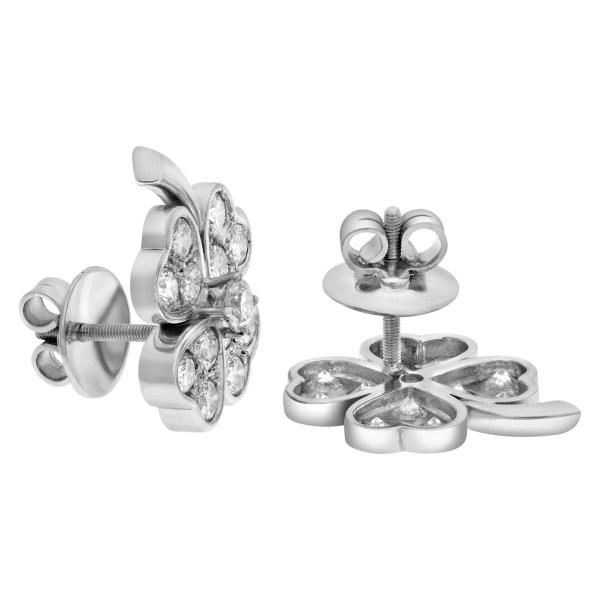 Diamond clover earrings in 18k white gold