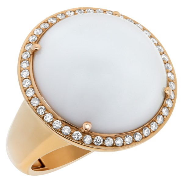 Superbly crafted large white coral cabochon ring with diamonds set in 18k rose gold.