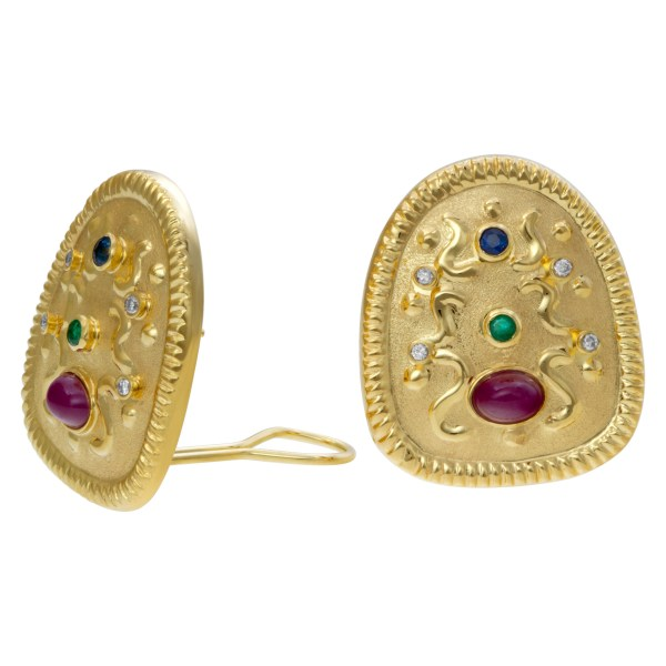 Earrings with cabochon rubies, emeralds, sapphires and diamonds set in 18k