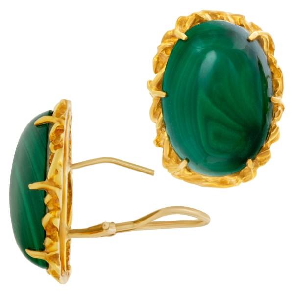 Green malachite button earrings in 18k
