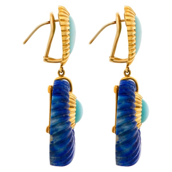 Turquoise earrings in 18k with fluted lapis lazuli with omega clips