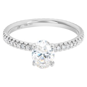 Diamond Eternity Band and Ring GIA 1.01 carat oval cut G-SI2 in an 18k white gold eternity band setting